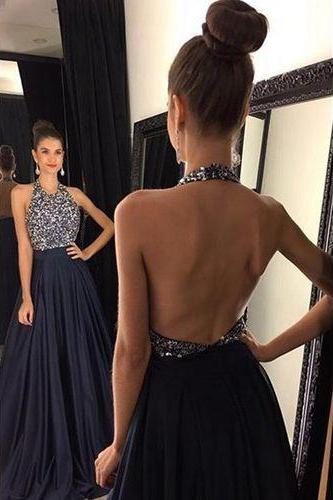 Halter Neckline Prom Dresses,Open Back Prom Dress,Sexy Open Back Prom Dresses,Backless Prom Gowns,Sexy Party Dresses,Dark Navy Blue Prom Dresses,Navy Blue Formal Party Dresses