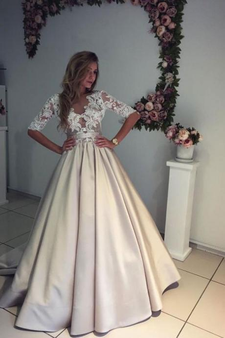 Half Sleeve Satin Skirt Lace Bodice Modern Wedding Dress Formal Occasion Dress
