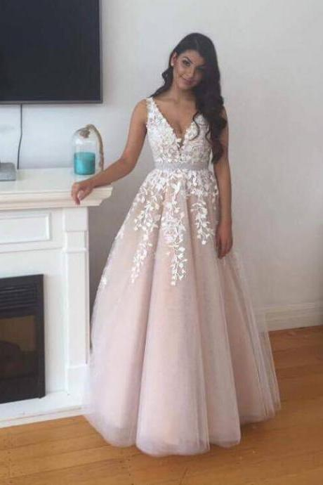 Floor Length V Neck Prom Dress with Lace