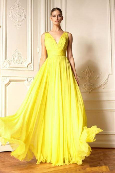 V Neckline Long Yellow Chiffon Prom Dress Evening Dress