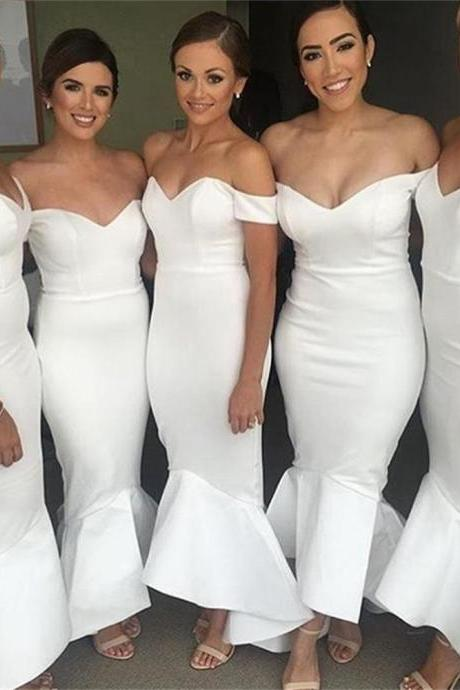 Custom Made White Off-Shoulder Satin Trumpet Bridesmaid Dress