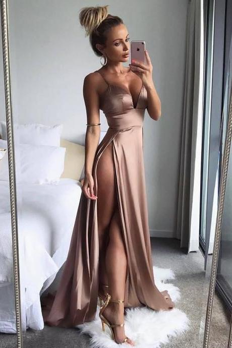 Evening Dress ,Thigh High Slits Sexy Evening Dress Elastic Satin Concise Long Party Gowns Spaghetti Straps Deep V neck Hot Evening Dresses