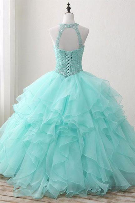 Lovely Green Round Neck Prom Dresses,Tulle Beads Long Prom Dress,Sweet 16 Dress Prom Dress