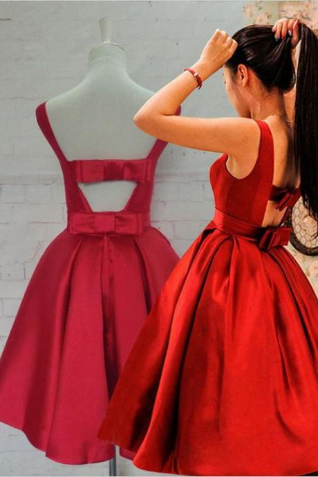 Homecoming Dress,New Knee Length Red Bow Back Homecoming Dress,Wedding Guest Prom Gowns, Formal Occasion Dresses,Formal Dress