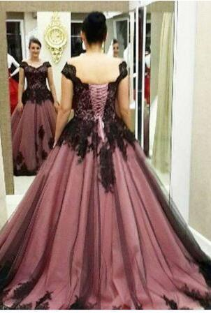Prom Dress, New Cheap New Arrival Brown Prom Dresses Cap Sleeve Ball Gowns Tull with Black Applique Bandage Formal Party Gowns Plus Size,Graduation Dresses,Wedding Guest Prom Gowns, Formal Occasion Dresses,Formal Dress