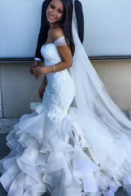 Wedding Dresses,Lace Wedding Dresses,Mermaid Wedding Dresses,Sweetheart Wedding Dresses,Off Shoulder Wedding Dresses,Ruffles Wedding Dresses