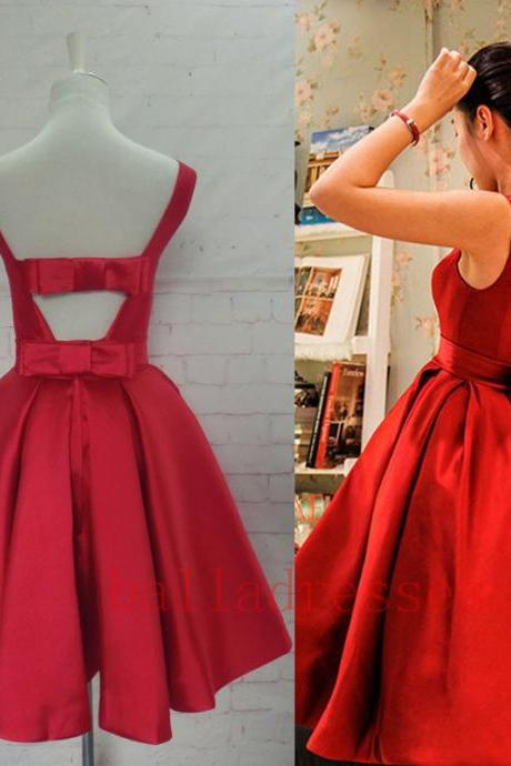 Red Homecoming Dress,Homecoming Dresses,Satin Homecoming Dress,Party Dress,Prom Gown, Sweet 16 Dress,Cocktail Gowns,Short Evening Gowns