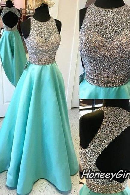 Prom Dress,Beaded Prom Dress,Open Back Prom Dresses,Floor-length Prom Dress, 2016 Newest Prom Dress