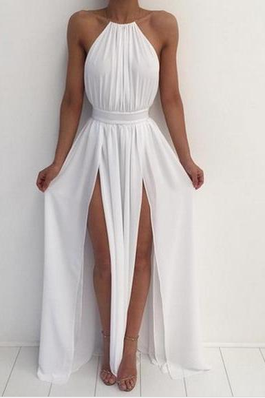 White halter simple A-line backless long prom dress,chiffon evening dress