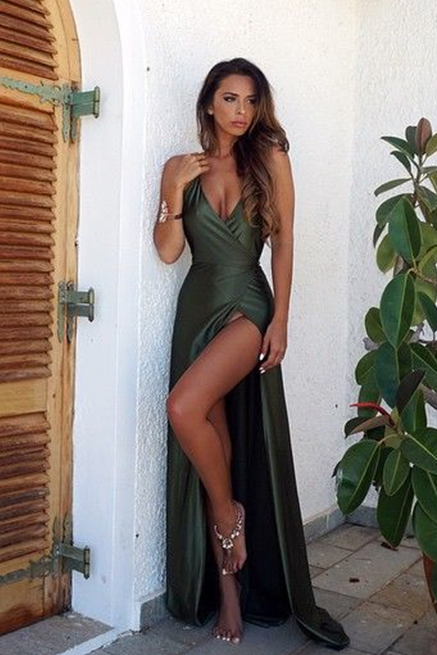 Sexy Backless V Neck Prom Dress,Split Prom Dresses,2018 Green Prom Dress