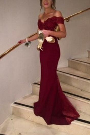 Prom Gown,Pretty Off Shoulder Chiffon Burgundy Prom Dresses With Lace, Evening Gowns, Formal Dresses, Burgundy Prom Dresses