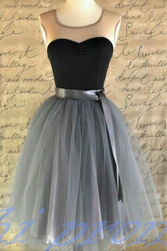 Gray Homecoming Dress,Short Prom Dresses,Tulle Homecoming Gowns,Grey Prom Gown,Cute Cocktail Dress,Black Homecoming Dresses