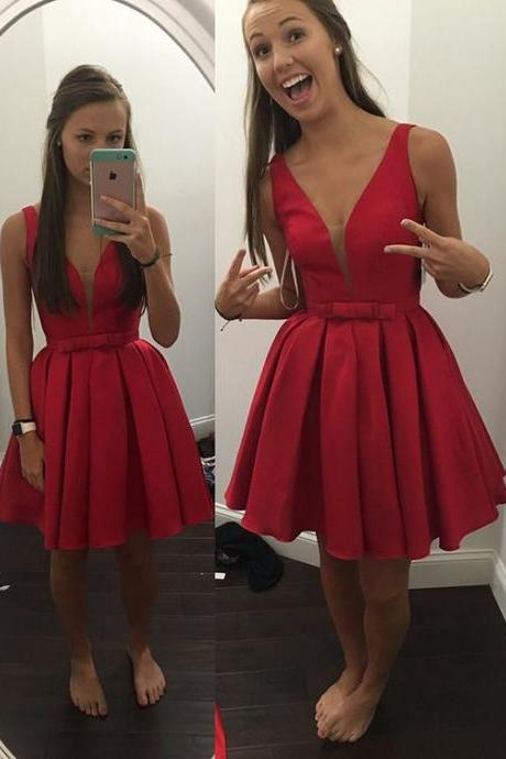 Charming Red Satin Prom Dress,Homecoming Dress,Short Homecoming Dresses