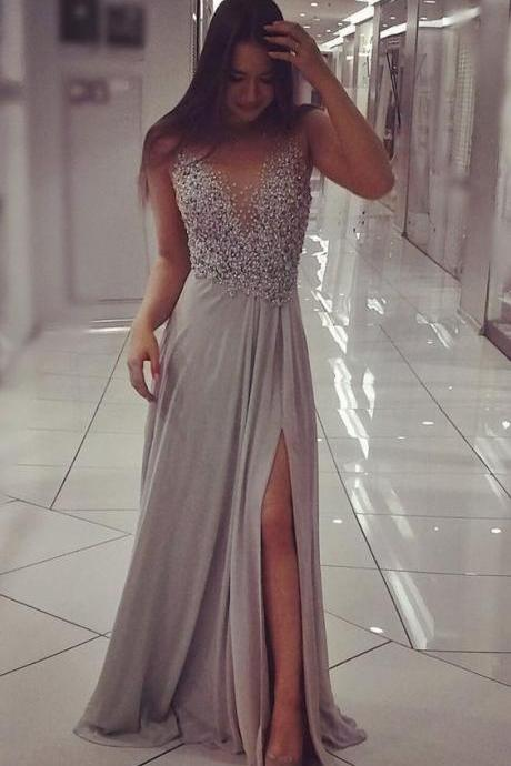Sexy Grey Split Side Prom Dress,Long Prom Dresses,Sleeveless Evening Dresses,Long Prom Dress
