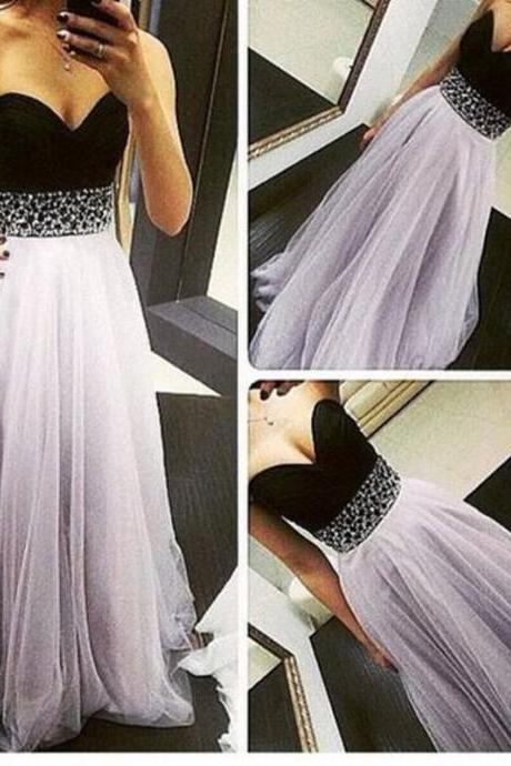 New Arrival Long Chiffon Long Prom Dresses,Simple Prom Dress,Beaded Sashes Light Purple Tulle Prom Dress,Floor-length Evening Dress