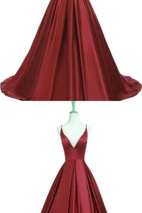 2019 burgundy backless prom dress,party dress,formal dress