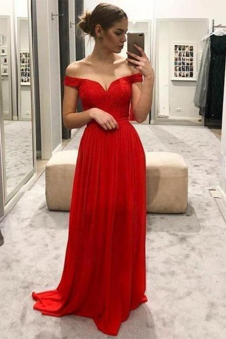 Simple Red Prom Dress Off The Shoulder Straps, Evening Dress, Formal Dresses, Graduation School Party Dance Dress,