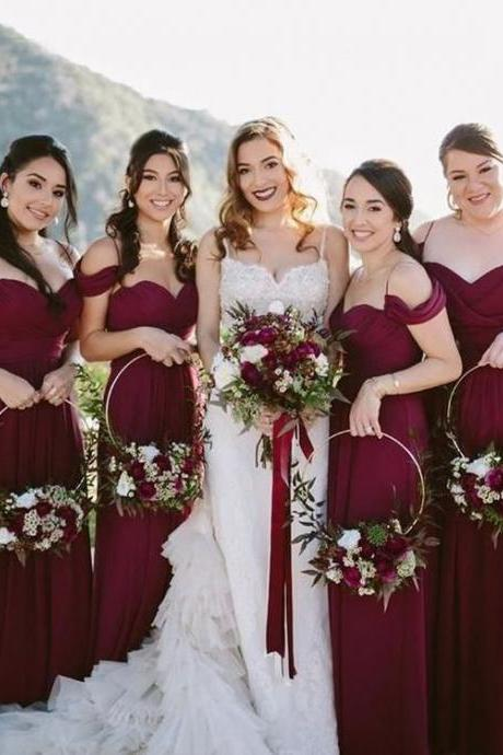Charming Burgundy Off the Shoulder Spaghetti Strap Sweet Heart Long Bridesmaid Dresses