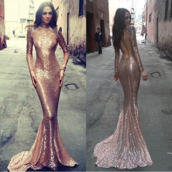 Rose Gold Prom Dress, Mermaid Prom Dress, Backless Prom Gown, Backless Prom Dresses, Sexy Evening Gowns, Sequins Evening Gown, Open Back Evening Gown With Long Sleeves Dress For Teens